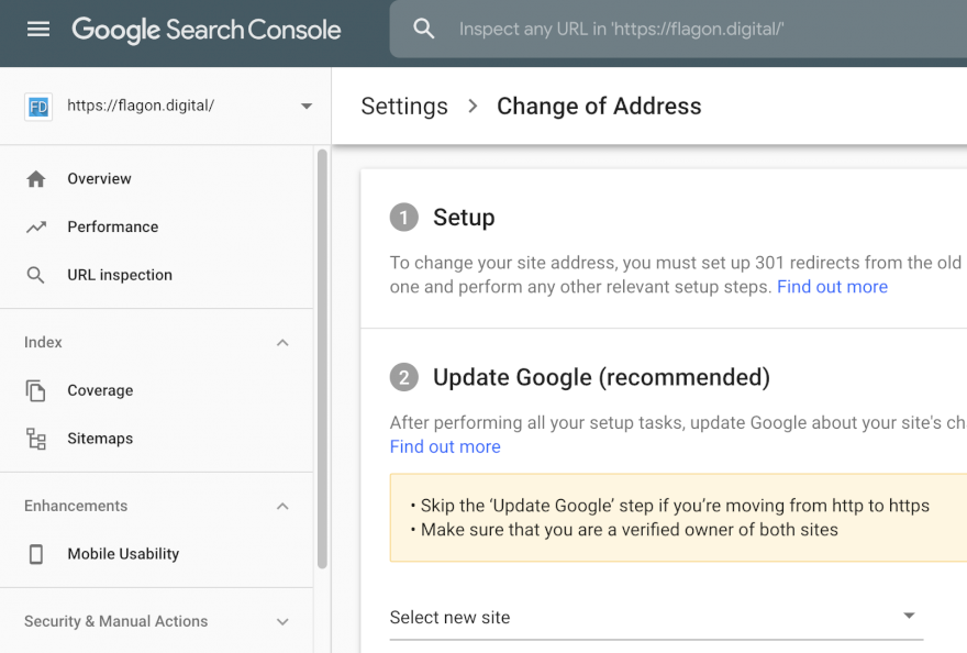 Change address in google search console