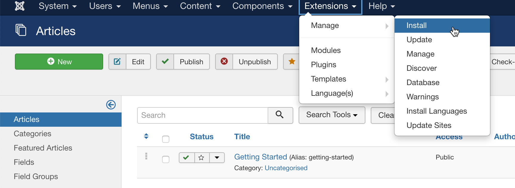install joomla extensions and plugins