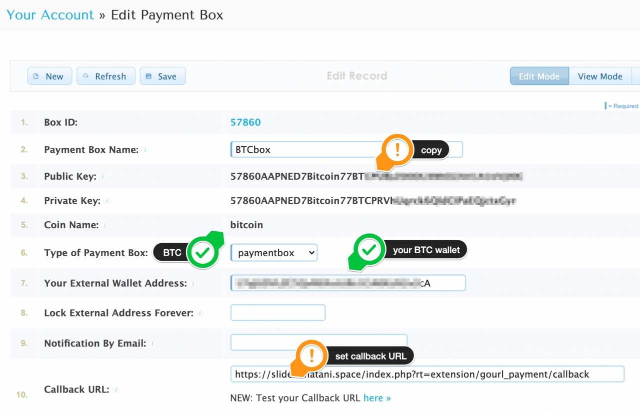 GoURL create payment box