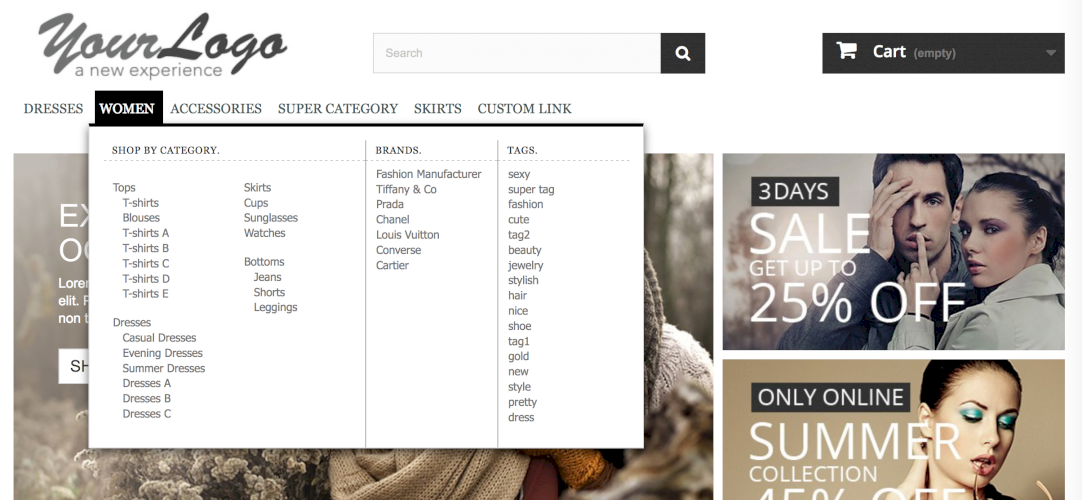 ShopBy Top navigation menu