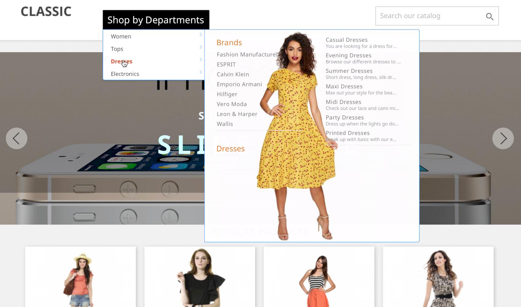 Shop Departments Menu (amazon style)