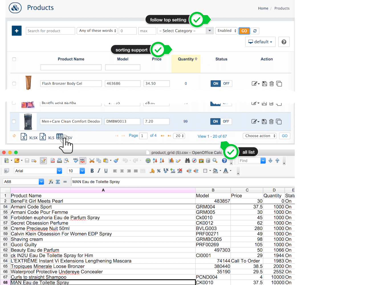 Data Lists Export: Excel XLXS, XLS, CSV. Filters support