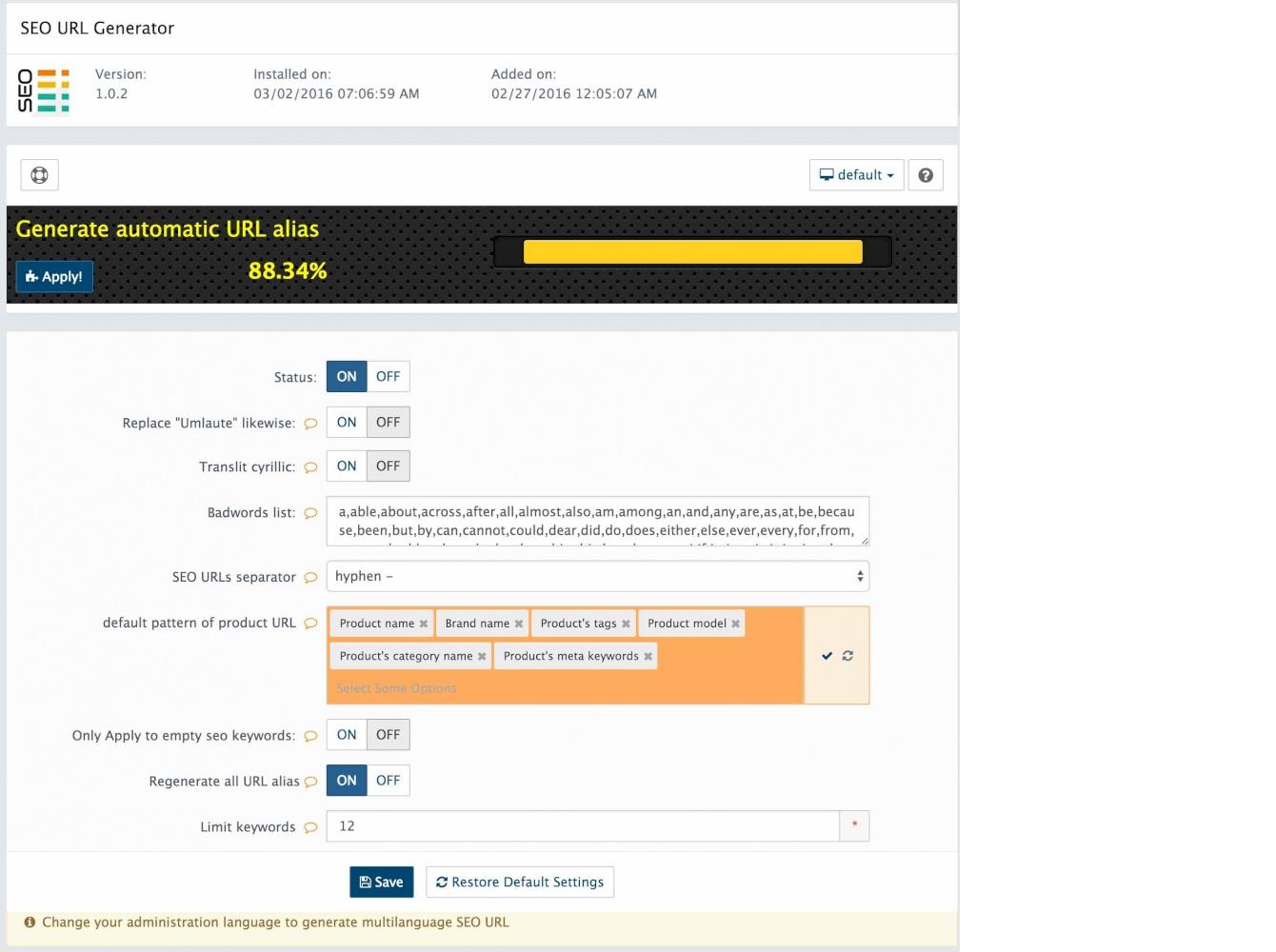 One click SEO URL Generator