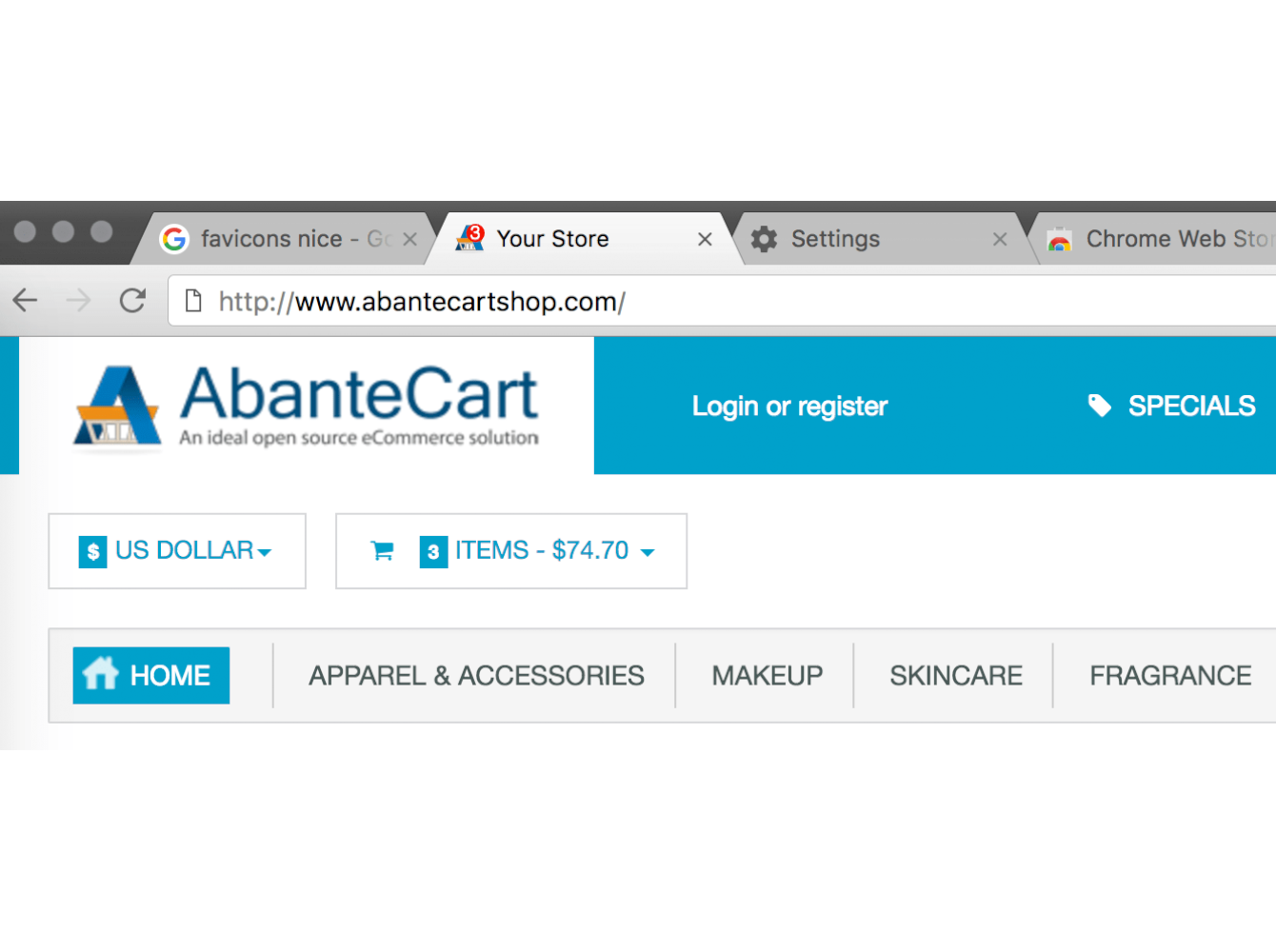 Favicon cart (basket in browser)