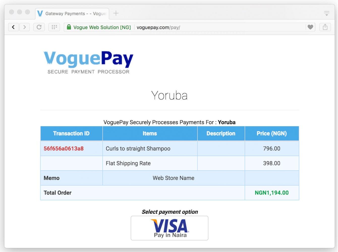 Voguepay payment AbanteCart integration