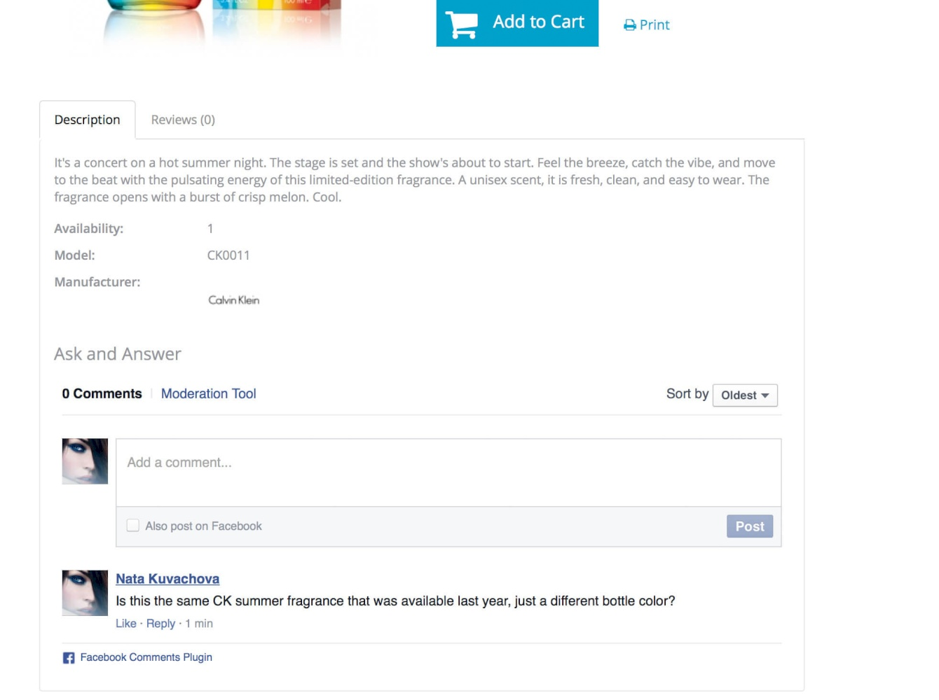 Abantecart Facebook comments