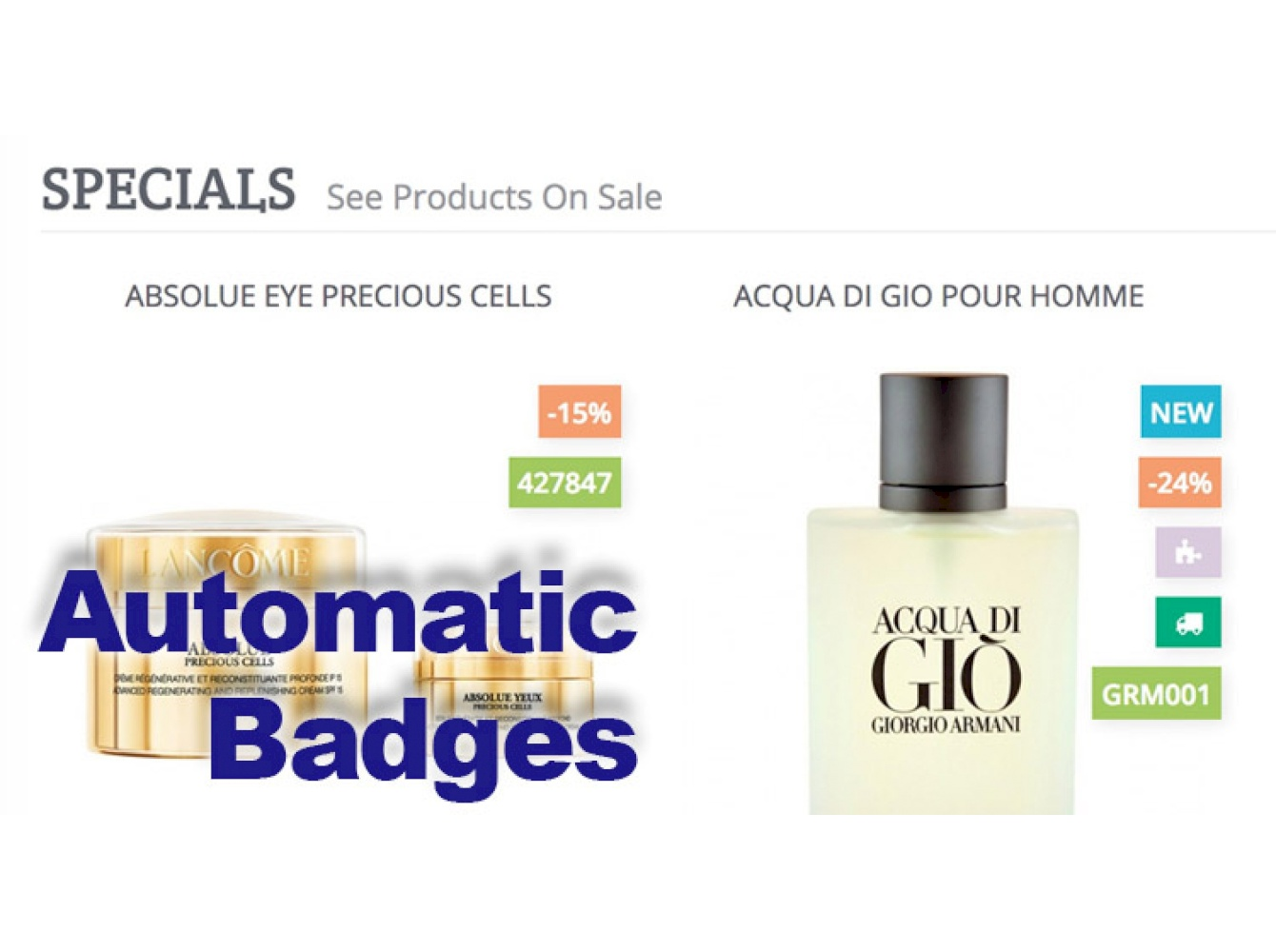 Automatic  product labels badges