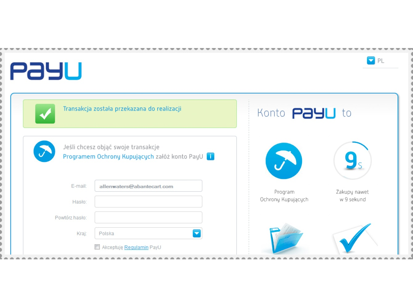 PayU Poland Quick start with payment