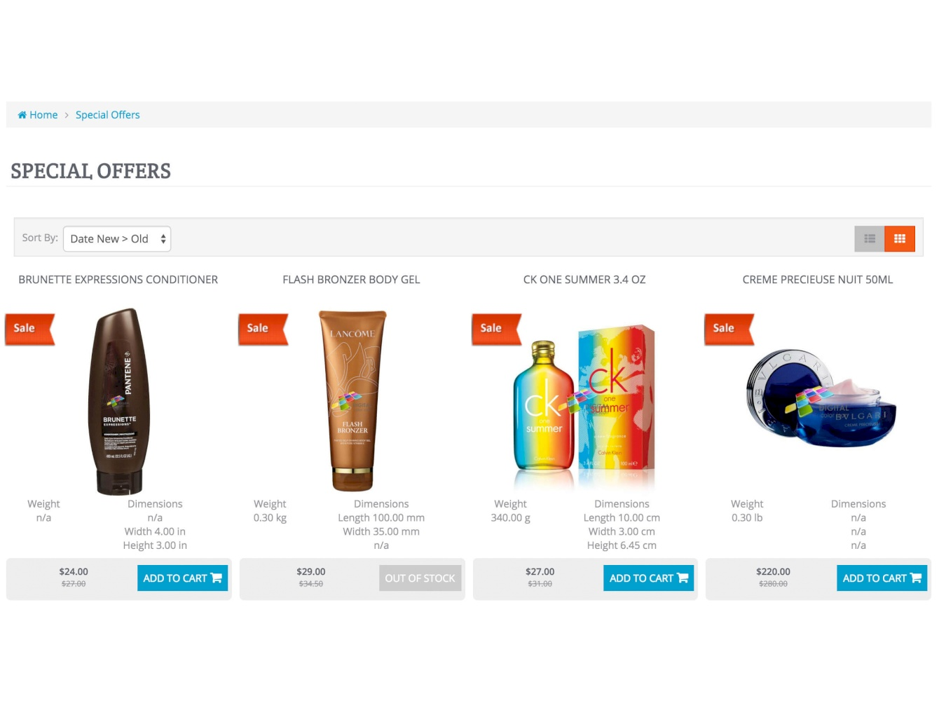 Show Weight & Dimensions: category and product pages