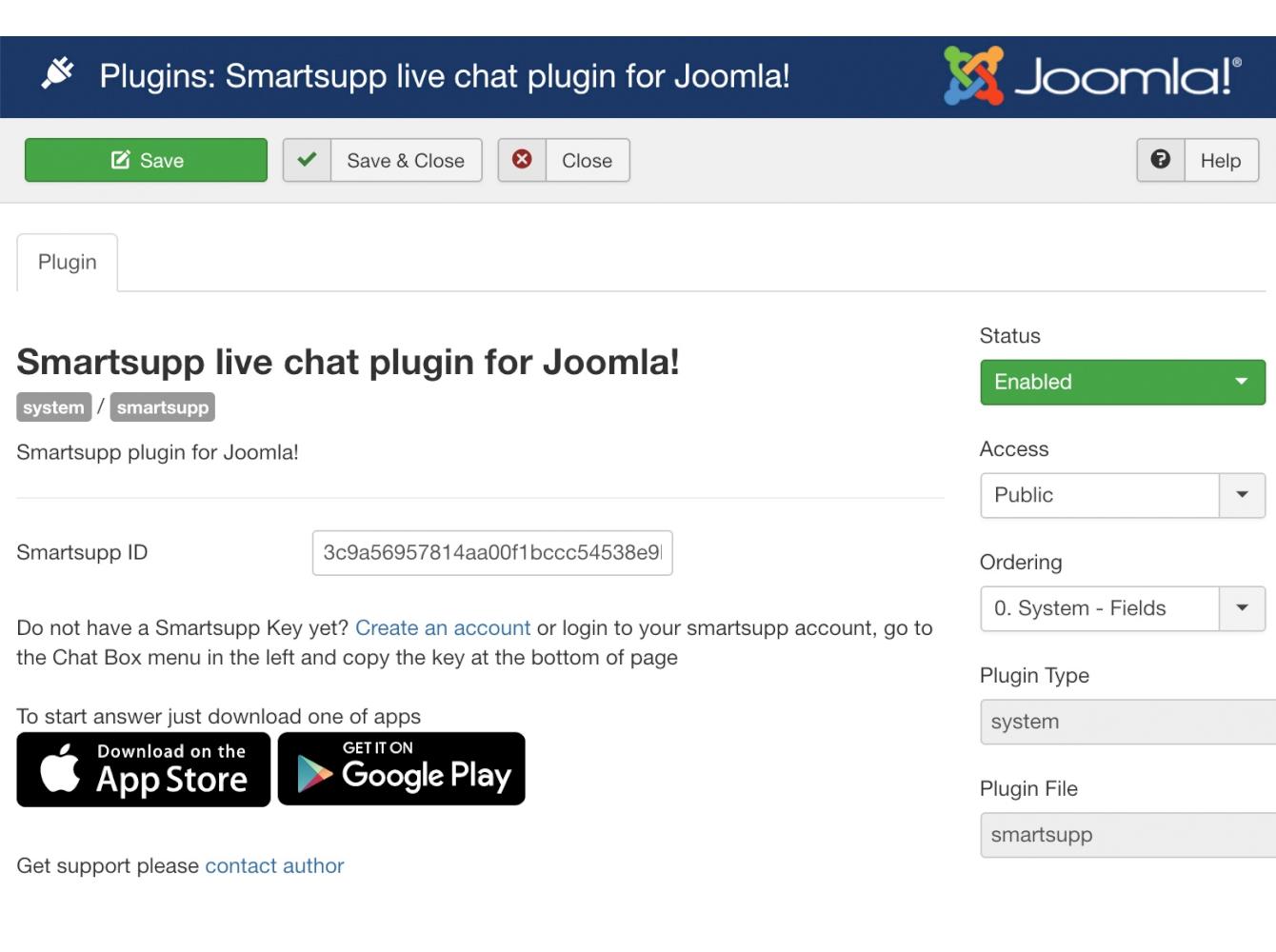 Joomla live chat - Smartsupp plugin