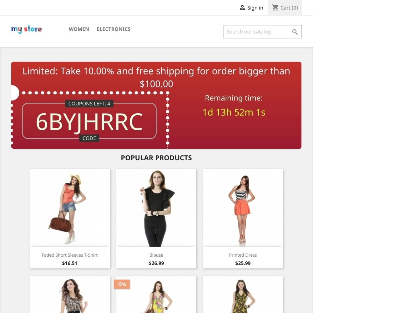 PrestaShop Coupons Banner with countdown (Groupon)