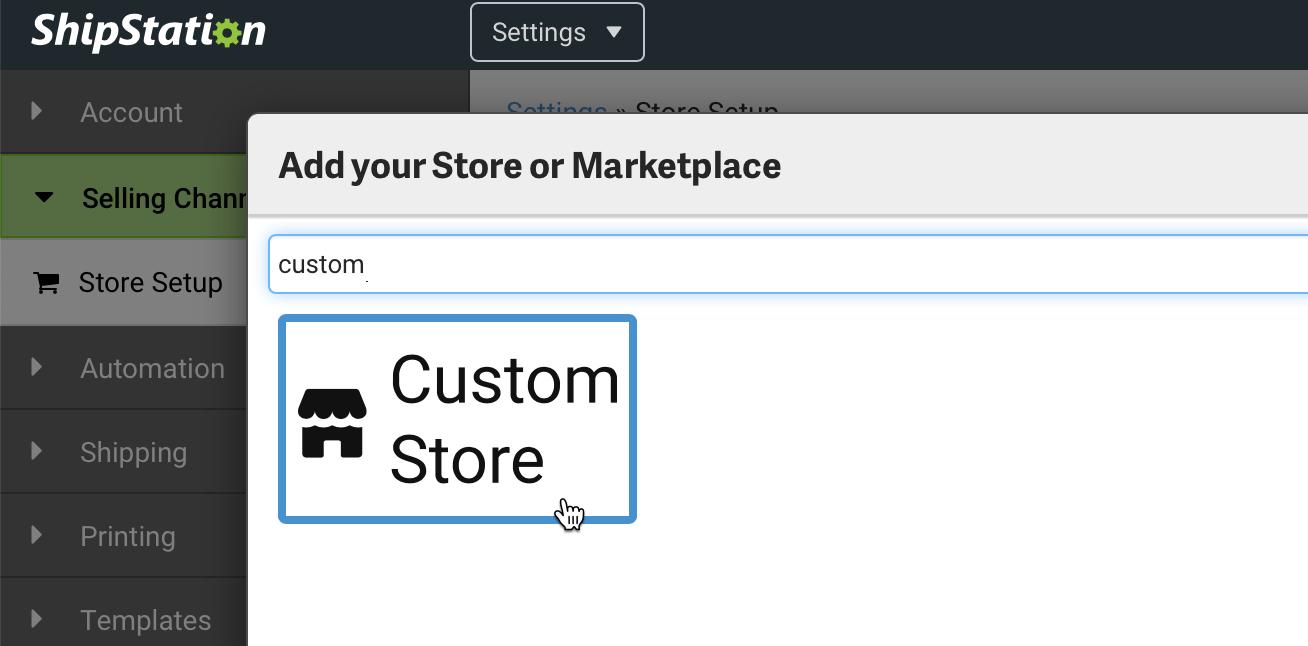 shipstation custom store